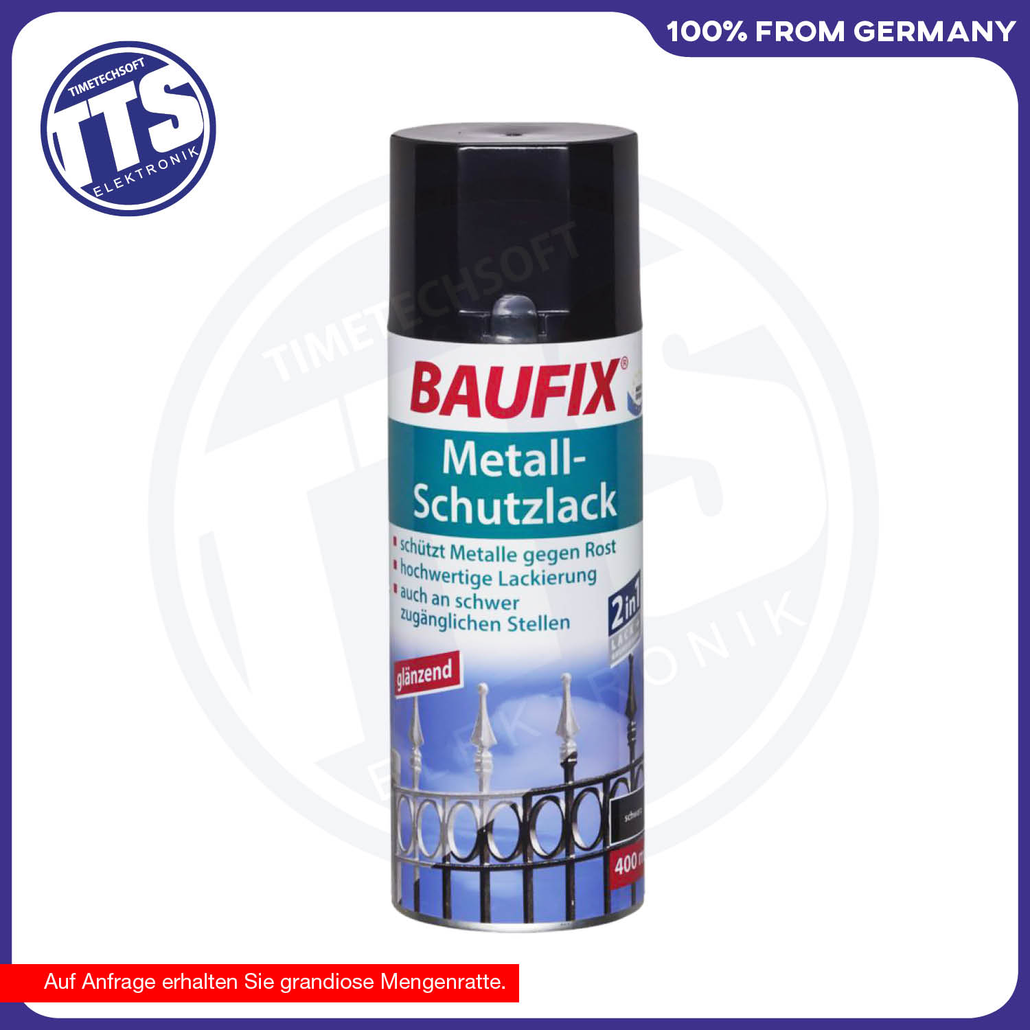 baufix metall schutzlack spr hdose 400 ml schwarz ebay. Black Bedroom Furniture Sets. Home Design Ideas